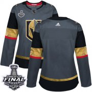 Wholesale Cheap Adidas Golden Knights Blank Grey Home Authentic 2018 Stanley Cup Final Women's Stitched NHL Jersey