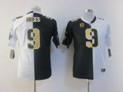 Wholesale Cheap Nike Saints #9 Drew Brees Black/White Youth Stitched NFL Elite Split Jersey