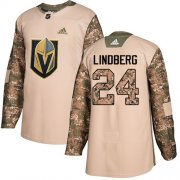 Wholesale Cheap Adidas Golden Knights #24 Oscar Lindberg Camo Authentic 2017 Veterans Day Stitched Youth NHL Jersey