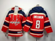 Wholesale Cheap Capitals #8 Alex Ovechkin Red Sawyer Hooded Sweatshirt Stitched Youth NHL Jersey