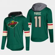 Wholesale Cheap Wild #11 Zach Parise Green 2018 Pullover Platinum Hoodie