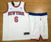 Wholesale Cheap Men's New York Knicks #6 Kristaps Porzingis New White 2017-2018 Nike Swingman Squarespace Stitched NBA Jersey With shorts