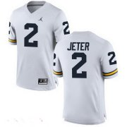 Wholesale Cheap Men's Michigan Wolverines #2 Derek Jeter White Stitched College Football Brand Jordan NCAA Jersey