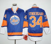 Wholesale Cheap Mets #34 Noah Syndergaard Blue Long Sleeve Stitched MLB Jersey
