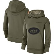 Wholesale Cheap Women's New York Jets Nike Olive Salute to Service Sideline Therma Performance Pullover Hoodie