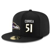 Wholesale Cheap Baltimore Ravens #51 Kamalei Correa Snapback Cap NFL Player Black with White Number Stitched Hat