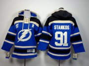 Wholesale Cheap Lightning #91 Steven Stamkos Royal Blue Sawyer Hooded Sweatshirt Stitched Youth NHL Jersey