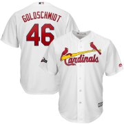 Wholesale Cheap St. Louis Cardinals #46 Paul Goldschmidt Majestic 2019 Postseason Official Cool Base Player Jersey White