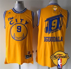 Wholesale Cheap Men\'s Golden State Warriors #9 Andre Iguodala 2015-16 Retro Yellow 2017 The NBA Finals Patch Jersey
