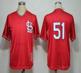 Wholesale Cheap Mitchell And Ness 1985 Cardinals #51 Willie McGee Red Stitched MLB Jersey