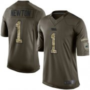 Wholesale Cheap Nike Panthers #1 Cam Newton Green Men's Stitched NFL Limited 2015 Salute to Service Jersey