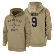 Wholesale Cheap New Orleans Saints #9 Drew Brees Nike Tan 2019 Salute To Service Name & Number Sideline Therma Pullover Hoodie