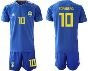 Wholesale Cheap Sweden #10 Forsberg Away Soccer Country Jersey