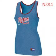 Wholesale Cheap Women's Nike Minnesota Twins Tri-Blend Racerback Stretch Tank Top Light Blue