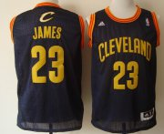 Wholesale Cheap Cleveland Cavaliers #23 LeBron James Navy Blue With Gold Swingman Jersey