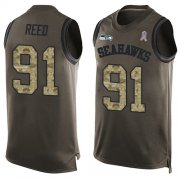 Wholesale Cheap Nike Seahawks #91 Jarran Reed Green Men's Stitched NFL Limited Salute To Service Tank Top Jersey