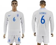 Wholesale Cheap England #6 Stones Home Long Sleeves Soccer Country Jersey