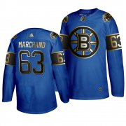 Wholesale Cheap Adidas Bruins #63 Brad Marchand 2019 Father's Day Black Golden Men's Authentic NHL Jersey Royal