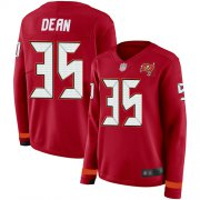 Wholesale Cheap Nike Buccaneers #35 Jamel Dean Red Team Color Women's Stitched NFL Limited Therma Long Sleeve Jersey