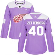 Wholesale Cheap Adidas Red Wings #40 Henrik Zetterberg Purple Authentic Fights Cancer Women's Stitched NHL Jersey
