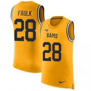 Wholesale Cheap Nike Rams #28 Marshall Faulk Gold Men's Stitched NFL Limited Rush Tank Top Jersey