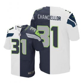Wholesale Cheap Nike Seahawks #31 Kam Chancellor White/Steel Blue Men\'s Stitched NFL Elite Split Jersey