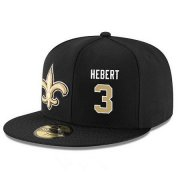 Wholesale Cheap New Orleans Saints #3 Bobby Hebert Snapback Cap NFL Player Black with Gold Number Stitched Hat
