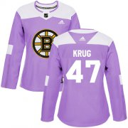 Wholesale Cheap Adidas Bruins #47 Torey Krug Purple Authentic Fights Cancer Women's Stitched NHL Jersey