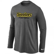 Wholesale Cheap Nike Pittsburgh Steelers Authentic Font Long Sleeve T-Shirt Dark Grey