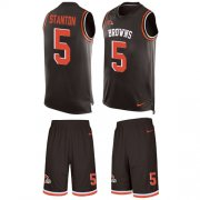 Wholesale Cheap Nike Browns #5 Drew Stanton Brown Team Color Men's Stitched NFL Limited Tank Top Suit Jersey