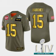Wholesale Cheap Kansas City Chiefs #15 Patrick Mahomes Men's Nike Olive Gold Super Bowl LIV 2020 2019 Salute to Service Limited NFL 100 Jersey