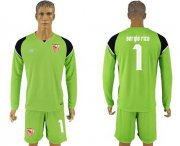 Wholesale Cheap Sevilla #1 Sergio Rico Green Goalkeeper Long Sleeves Soccer Club Jersey