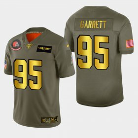 Wholesale Cheap Nike Browns #95 Myles Garrett Men\'s Olive Gold 2019 Salute to Service NFL 100 Limited Jersey
