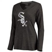 Wholesale Cheap Women's Chicago White Sox Platinum Collection Long Sleeve V-Neck Tri-Blend T-Shirt Black