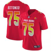 Wholesale Cheap Nike Browns #75 Joel Bitonio Red Youth Stitched NFL Limited AFC 2019 Pro Bowl Jersey