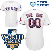 Wholesale Cheap Rangers Customized Authentic White Cool Base MLB Jersey w/2010 World Series Patch (S-3XL)