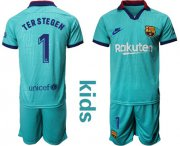 Wholesale Cheap Barcelona #1 Ter Stegen Third Kid Soccer Club Jersey