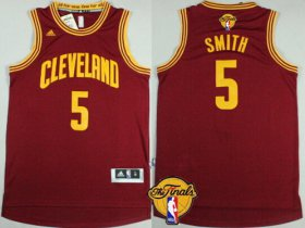 Wholesale Cheap Men\'s Cleveland Cavaliers #5 J.R. Smith 2017 The NBA Finals Patch Red Jersey