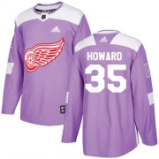 Wholesale Cheap Adidas Red Wings #35 Jimmy Howard Purple Authentic Fights Cancer Stitched Youth NHL Jersey