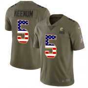 Wholesale Cheap Nike Browns #5 Case Keenum Olive/USA Flag Youth Stitched NFL Limited 2017 Salute To Service Jersey