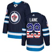 Wholesale Cheap Adidas Jets #29 Patrik Laine Navy Blue Home Authentic USA Flag Stitched NHL Jersey