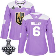 Wholesale Cheap Adidas Golden Knights #6 Colin Miller Purple Authentic Fights Cancer 2018 Stanley Cup Final Women's Stitched NHL Jersey