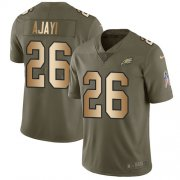 Wholesale Cheap Nike Eagles #26 Jay Ajayi Olive/Gold Men's Stitched NFL Limited 2017 Salute To Service Jersey