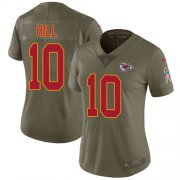 Wholesale Cheap Nike Chiefs #10 Tyreek Hill Olive Women's Stitched NFL Limited 2017 Salute to Service Jersey