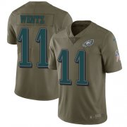 Wholesale Cheap Nike Eagles #11 Carson Wentz Olive Youth Stitched NFL Limited 2017 Salute to Service Jersey