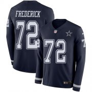 Wholesale Cheap Nike Cowboys #72 Travis Frederick Navy Blue Team Color Men's Stitched NFL Limited Therma Long Sleeve Jersey
