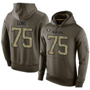 Wholesale Cheap NFL Men's Nike Oakland Raiders #75 Howie Long Stitched Green Olive Salute To Service KO Performance Hoodie