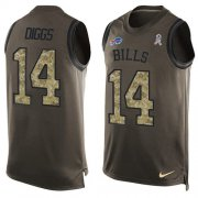 Wholesale Cheap Nike Bills #14 Stefon Diggs Green Men's Stitched NFL Limited Salute To Service Tank Top Jersey