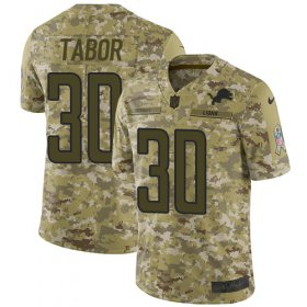 Wholesale Cheap Nike Lions #30 Teez Tabor Camo Youth Stitched NFL Limited 2018 Salute to Service Jersey