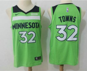 Wholesale Cheap Men\'s Minnesota Timberwolves #32 Karl-Anthony Towns New Green 2017-2018 Nike Swingman Fitbit Stitched NBA Jersey